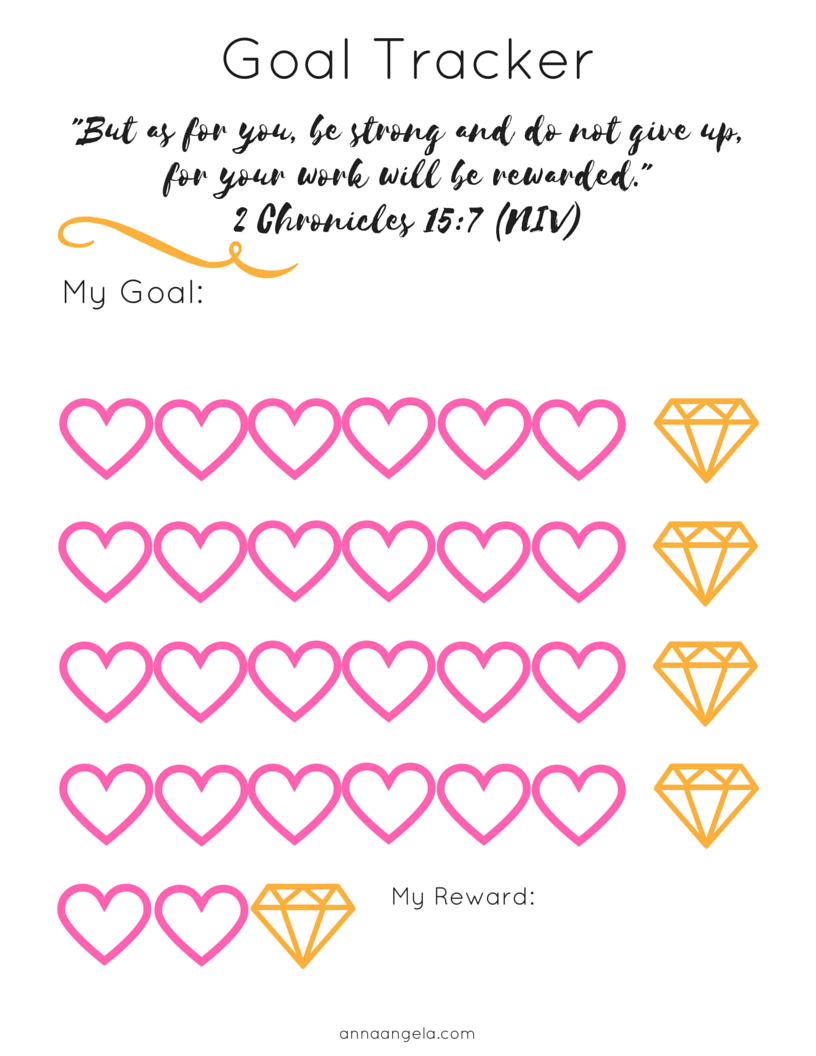 photograph about Goal Tracker Printable titled Purpose Monitoring + No cost Printable - Anna Angela